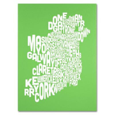 14 in. x 19 in. Ireland Text Map - Lime Canvas Art
