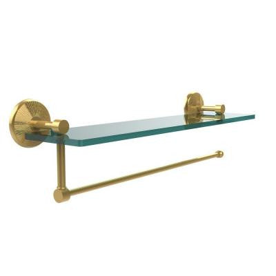 Prestige Monte Carlo Collection Paper Towel Holder with 16 in. W Glass Shelf in Polished Brass