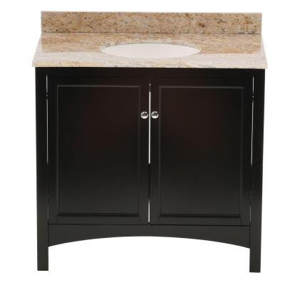 Haven 37 in. W x 22 in. D Vanity in Espresso with Vanity Top and Stone Effects in Tuscan Sun