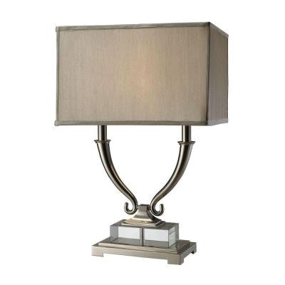 Roberts 24 in. Polished Nickel and Clear Crystal Table Lamp with Shade