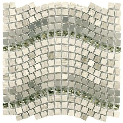 Tessera Wave Mercury 11-3/4 in. x 12-1/4 in. x 8 mm Glass, Stone and Metal Mosaic Wall Tile