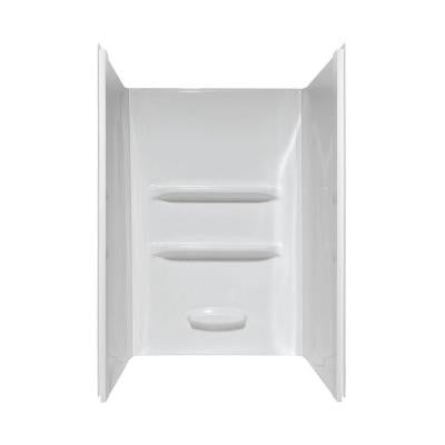 Elite 34 in. x 48 in. x 69 in. 3-Piece Direct-to-Stud Shower Wall Kit in White