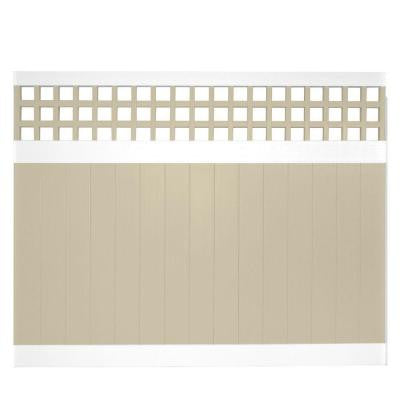 Tacoma 6 ft. x 8 ft. Two-Tone Square Lattice Vinyl Privacy Fence Panel