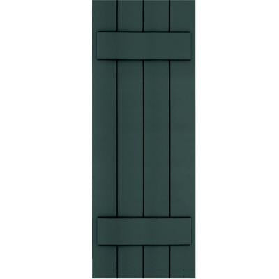 Wood Composite 15 in. x 42 in. Board & Batten Shutters Pair #638 Evergreen