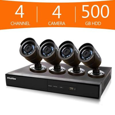 4-Channel 960H Surveillance System with 500GB Hard Drive and (4) 600 TVL Cameras