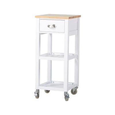 15.75 in. W MDF Mobile Kitchen Island Cart in White with Drawer