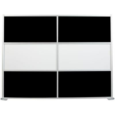 uDivide 100 in. x 75-3/8 in. 6-Panel White and Black Room Divider
