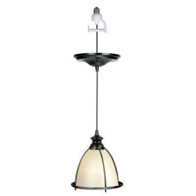 1-Light Brushed Bronze Instant Pendant Conversion Kit and Overlay with White Glass Shade