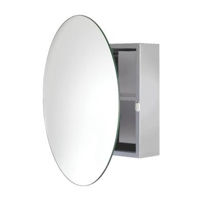 Severn 21.5 in. W x 21.5 in. H x 6.3 in. D Circular Mirrored Surface-Mount Medicine Cabinet in Stainless Steel