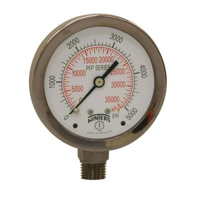 PFP Series 2.5 in. Stainless Steel Liquid Filled Case Pressure Gauge with 1/4 in. NPT LM and Range of 0-5000 psi/kPa