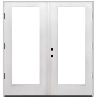 56 in. x 80 in. Primed White Fiberglass Prehung Left-Hand Outswing Full Lite Patio Door
