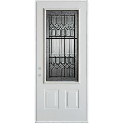 32 in. x 80 in. Lanza Patina 3/4 Lite 2-Panel Prefinished White Right-Hand Inswing Steel Prehung Front Door