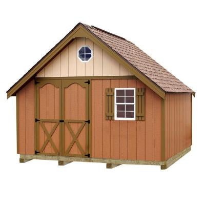 Riviera 12 ft. x 12 ft. Wood Storage Shed Kit with Floor