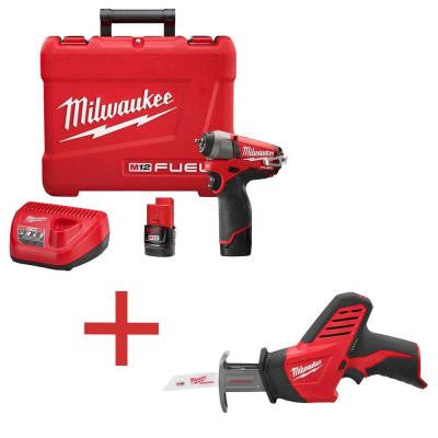 M12 FUEL 12-Volt Lithium-Ion 1/4 in. Cordless Impact Wrench Kit with M12 HACKZALL Reciprocating Saw (Tool-Only)