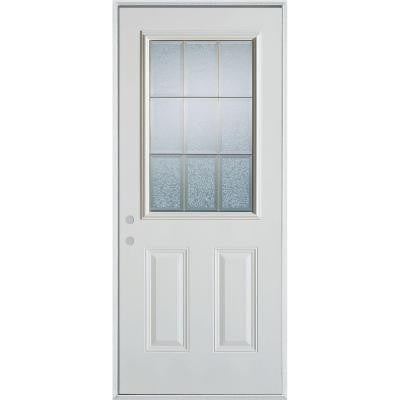 36 in. x 80 in. Geometric Glue Chip and Zinc 1/2 Lite 2-Panel Prefinished Right-Hand Inswing Steel Prehung Front Door