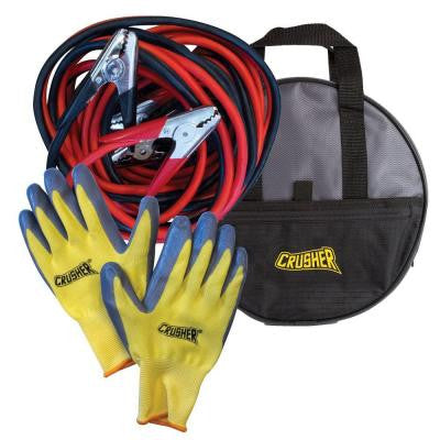 30 ft. Industrial-Commercial Grade 1 Gauge Booster Jumper Cables, 800-Amp Clamps, Gloves, High Quality Black Storage Bag