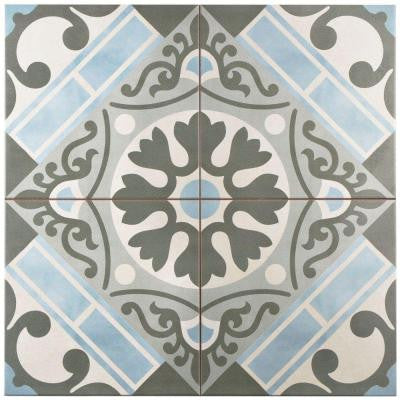 Evasion Azul 17-3/4 in. x 17-3/4 in. Ceramic Floor and Wall Tile (11.33 sq. ft. / case)