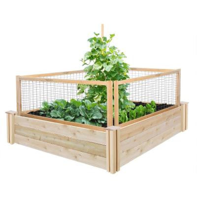 48 in. x 48 in. x 10.5 in. Cedar Raised Garden with CritterGuard Fence System