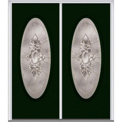 64 in. x 80 in. Heirloom Master Decorative Glass Full Oval Lite Painted Builder's Choice Steel Double Prehung Front Door