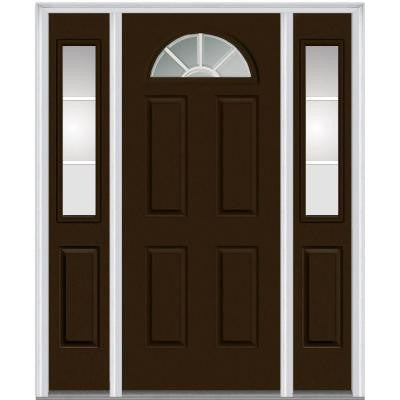60 in. x 80 in. Classic Clear Glass 1/4 Lite Painted Fiberglass Smooth Prehung Front Door with Sidelites