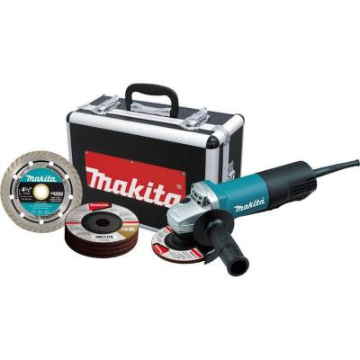 7.5 Amp 4-1/2 in. Corded Paddle Switch Grinder with Aluminum Case, Diamond Blade and Grinding Wheels