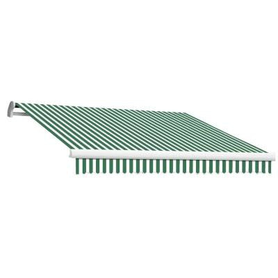 20 ft. MAUI EX Model Right Motor Retractable Awning (120 in. Projection) in Forest Green and White Stripe