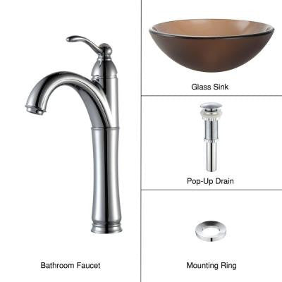 Glass Vessel Sink in Frosted Brown with Single Hole 1-Handle High-Arc Riviera Faucet in Chrome
