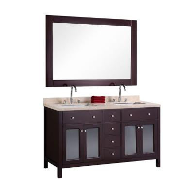 Venetian 60 in. W x 22 in. D Vanity in Espresso with Natural Marble Vanity Top in Brown