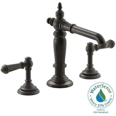 Artifacts 8 in. Widespread 2-Handle Column Design Bathroom Faucet in Oil Rubbed Bronze with Lever Handles