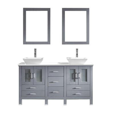 Bradford 59.8 in. W x 21.9 in. D x 36.8 in. H Vanity in Grey with Stone Vanity Top in White with Square Basin and Mirror