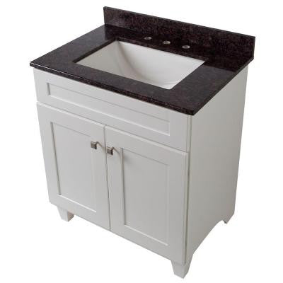 Creeley 31 in. Vanity in Classic White with Stone Effects Vanity Top in Tan Brown