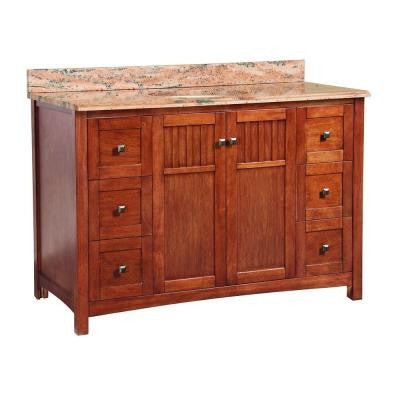 Knoxville 49 in. x 22 in. D Vanity in Nutmeg with Vanity Top and Stone Effects in Bordeaux