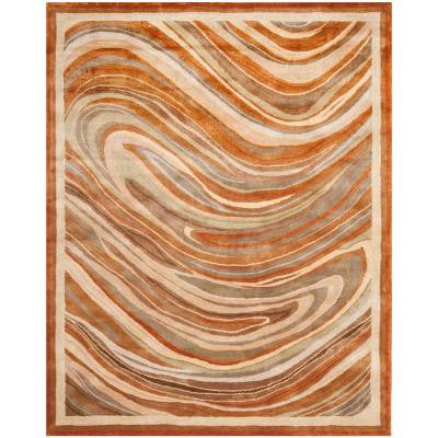 Marble Swirl October Leaf Red 5 ft. 6 in. x 8 ft. 6 in. Area Rug