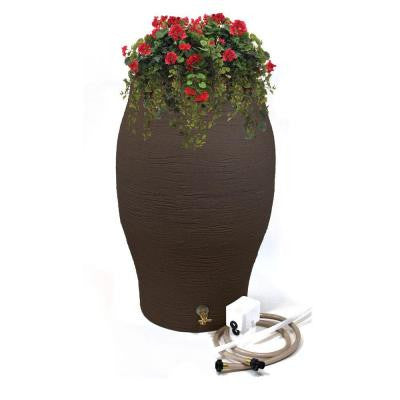 50 Gal. Earth Brown Water Urn Flat-Back Rain Barrel with Integrated Planter and Diverter Kit