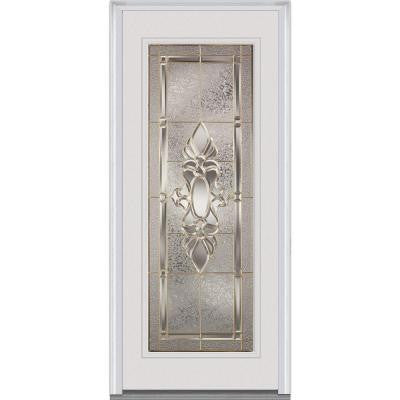 36 in. x 80 in. Heirloom Master Decorative Glass Full Lite Primed White Fiberglass Smooth Prehung Front Door