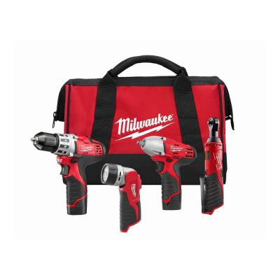 M12 12-Volt Lithium-Ion Cordless Drill Driver/Impact Wrench/Ratchet/Light Combo Kit (4-Tool)
