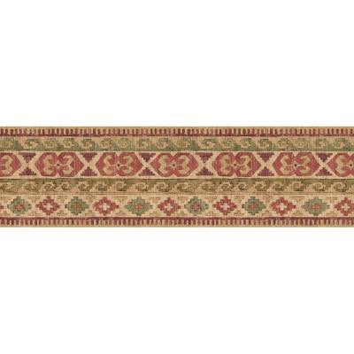 6.83 in. x 15 ft. Red and Green Earth Tone Navajo Indian Tapestry Border