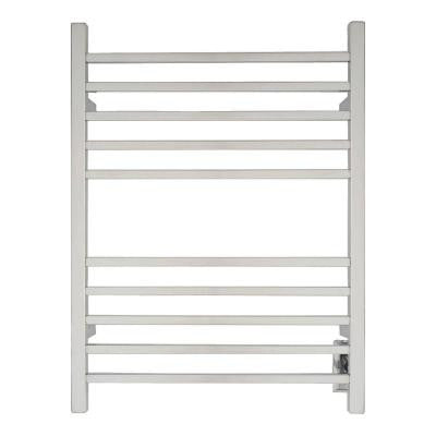 Radiant Square Hardwired 24 in. W x 32 in. H 10-Bar Electric Towel Warmer in Polished Stainless Steel