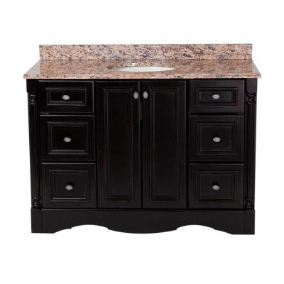 Valencia 48 in. Vanity in Antique Black with Stone Effects Vanity Top in Santa Cecilia