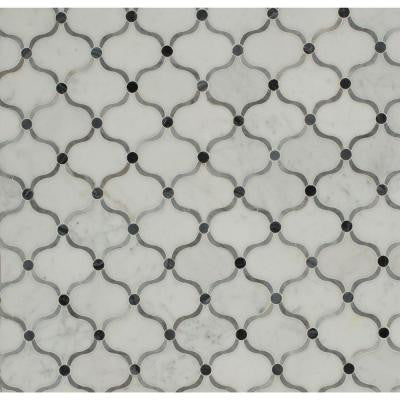 Steppe Eastern Carrera 11-3/4 in. x 11-3/4 in. x 10 mm Polished Marble Waterjet Mosaic Tile