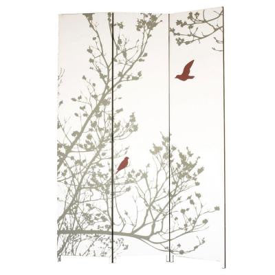 nexxt Bota 71 in. x 47.5 in. x 1 in. 3-Panel Taupe Tree with Red Bird Design Canvas Room Divider