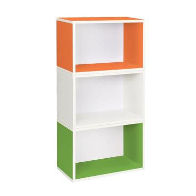 Hillcrest Eco 3-Compartment zBoard Stackable Modular Bookcase and Storage Shelf in Green/Orange/White