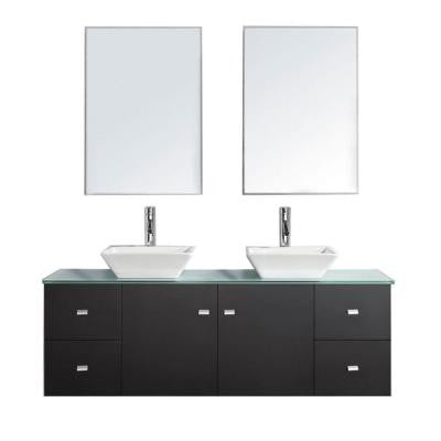 Clarissa 61 in. Double Vanity in Espresso with Glass Vanity Top and Mirror Cabinet in Aqua