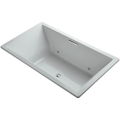 Underscore 6 ft. VibrAcoustic Center Drain Soaking Tub in Ice Grey with Chromotherapy and Bask Heated Surface