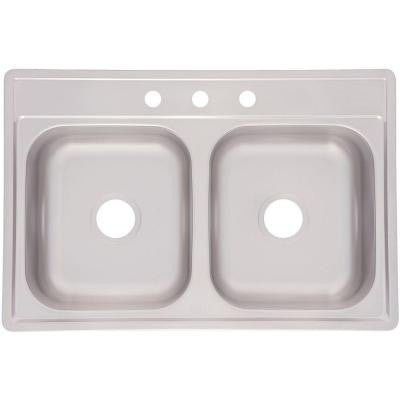 Top Mount Stainless Steel 33x22x6 3-Hole Double Bowl Kitchen Sink