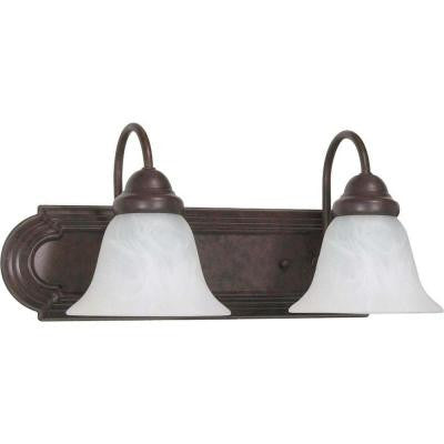 2-Light Old Bronze Vanity Light with Alabaster Glass Bell Shades