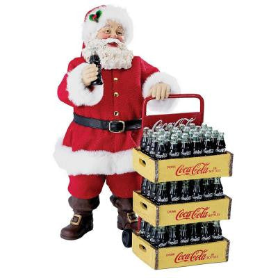 10.5 in. Coca Cola Santa Set with Delivery Cart (2-Piece)