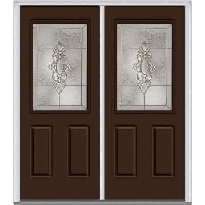72 in. x 80 in. Heirloom Master Decorative Glass 1/2 Lite Painted Fiberglass Smooth Double Prehung Front Door