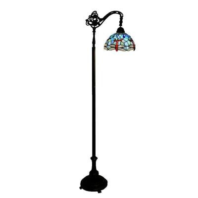 62 in. Dragonfly 1 Light Reading Multicolored Floor Lamp