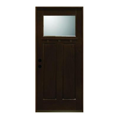 36 in. x 80 in. Craftsman Collection 1 Lite Prefinished Antique Mahogany Type Solid Wood Prehung Front Door